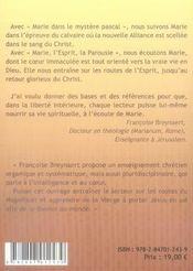 A L'Ecoute De Marie T.2 ; Marie Dans Le Mystere Pascal ; Marie, L'Esprit, La Parousie - 4ème de couverture - Format classique