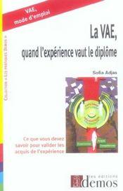 Vae, Quand L' Experience Vaut Le Diplome - Intérieur - Format classique