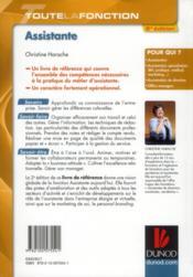 Toute la fonction assistante (2e édition) - 4ème de couverture - Format classique
