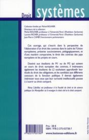 Droit européen comparé des contrats - 4ème de couverture - Format classique