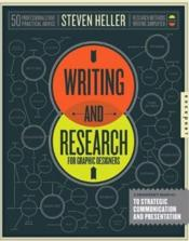 Writing And Research For Graphic Designers /Anglais - Couverture - Format classique