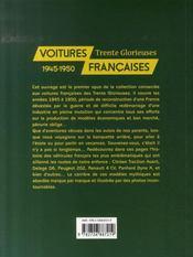 Voitures françaises, 1945-1950 ; trente glorieuses - 4ème de couverture - Format classique