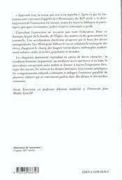 Education Et Cultures Dans L'Europe Occidentale Chretienne (Du Xiie Au Milieu Du Xve) Capes/Agregati - 4ème de couverture - Format classique
