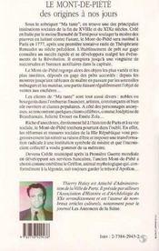 Le Mont-De-Piete, Des Origines A Nos Jours - 4ème de couverture - Format classique