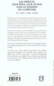 Les Prefets Leur Role Leur Action Dans Le Domaine De La Defense De 1800 A Nos Jours - 4ème de couverture - Format classique
