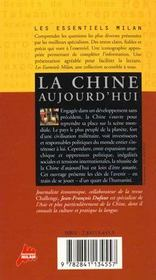 La chine aujourd'hui - 4ème de couverture - Format classique