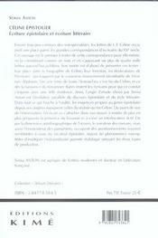 Celine epistolier - 4ème de couverture - Format classique