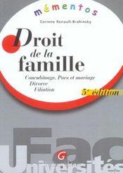 Memento Droit De La Famille - Intérieur - Format classique