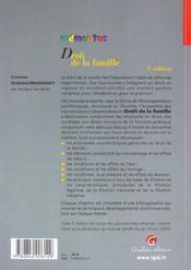 Memento Droit De La Famille - 4ème de couverture - Format classique