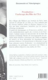 Prostitution : l'esclavage des filles de l'est - 4ème de couverture - Format classique