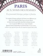 Paris, Aux Noms Des Femmes - 4ème de couverture - Format classique