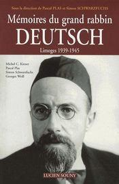 Mémoires du grand rabbin deutsch ; limoges 1939-1945 - Couverture - Format classique