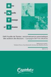 Rnti t.10 ; le défi fouille de textes : quels paradigmes pour la reconnaissance automatique d'auteurs ? - Intérieur - Format classique