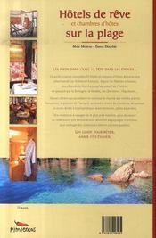 Hôtels de rêve et chambres d'hôtes sur la plage - 4ème de couverture - Format classique