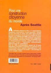 Apres seattle pour une constitution citoyenne du monde - 4ème de couverture - Format classique