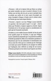 Reponse D'Ulysse Et Autres Textes Sur L'Occident (La) - 4ème de couverture - Format classique