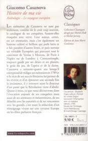Histoire de ma vie ; anthologie ; le voyageur européen - 4ème de couverture - Format classique