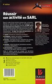 Réussir son activité en SARL (4e édition) - 4ème de couverture - Format classique