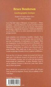 Autobiographie érotique - 4ème de couverture - Format classique