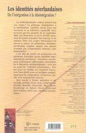 Les Identites Neerlandaises. De L'Integration A La Desintegration - 4ème de couverture - Format classique