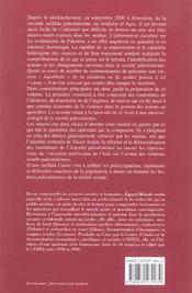 D'une intifada a l'autre (édition 2004) - 4ème de couverture - Format classique