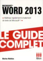 Vente livre :  Word 2013  - Marina Mathias