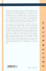 L'Histoire Americaine A Travers Les Presidents Americains Et Leurs Discours D'Investiture 1789-2001 - 4ème de couverture - Format classique