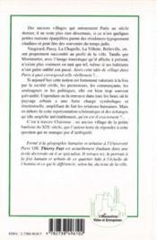 Notion de village à Paris ; Charonne ; un espace HU - 4ème de couverture - Format classique