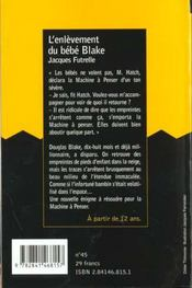 Enlevement De Bebe Blake - 4ème de couverture - Format classique