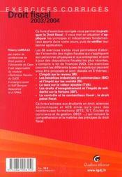 Exercices Corriges Droit Fiscal 2003/2004, 5eme Edition - 4ème de couverture - Format classique