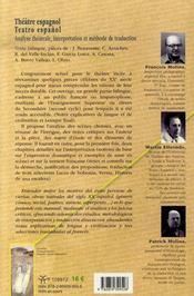 Théâtre espagnol / teatro espanol ; analyse théâtrale, interprétation et méthode de traduction - 4ème de couverture - Format classique