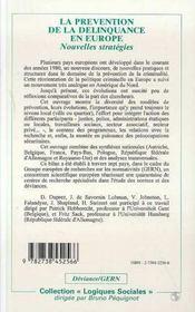 La Prevention De La Delinquance En Europe - 4ème de couverture - Format classique