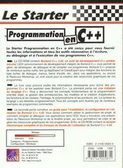 Le Starter Programmation C++ - 4ème de couverture - Format classique