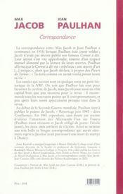 Correspondance max jacob-jean paulhan, 1915-1941 - 4ème de couverture - Format classique