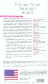 Etats-Unis / Europe. Des Modeles En Miroir - 4ème de couverture - Format classique