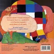 Le petit livre des contraires d'Elmer - 4ème de couverture - Format classique