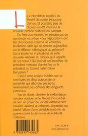 Medef, Un Projet De Societe - 4ème de couverture - Format classique