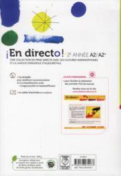 EN DIRECTO ; espagnol ; 2ème année ; manuel de l'élève - 4ème de couverture - Format classique