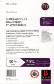 TD ; mathématiques financières et actuarielles ; travaux dirigés - 4ème de couverture - Format classique