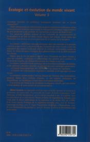 Écologie et évolution du monde vivant t.3 ; les problèmes écologiques actuels - 4ème de couverture - Format classique