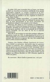 Marie Guillot ; De L'Emancipation Des Femmes A Celle Du Syndicalisme - 4ème de couverture - Format classique