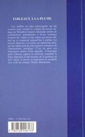 Tableaux A La Plume - 4ème de couverture - Format classique