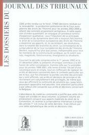 La convention européenne des droits de l'homme. 3 années de jurisprudence de la cour européenne des droits de l'homme t. - 4ème de couverture - Format classique