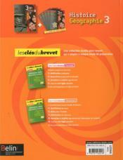 Histoire-géographie ; 3ème ; manuel de l'élève - 4ème de couverture - Format classique