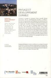 Paysage Et Developpement Durable - 4ème de couverture - Format classique