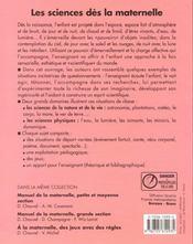 Les Sciences Des La Maternelle - 4ème de couverture - Format classique