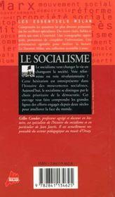 Le socialisme - 4ème de couverture - Format classique