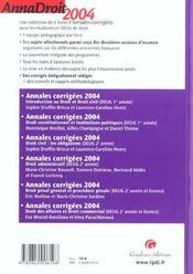 Anna droit 2004 droit civil les obligations (édition 2004) - 4ème de couverture - Format classique