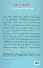 Feuilles de rail ; les litteratures du chemin de fer - 4ème de couverture - Format classique