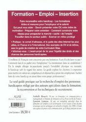 Guide de la formation et de l'emploi des personnes handicapees - 4ème de couverture - Format classique